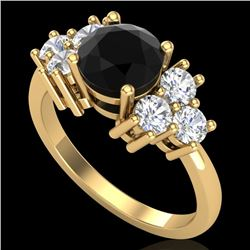 2.1 CTW Fancy Black Diamond Solitaire Engagement Classic Ring 18K Yellow Gold - REF-154H5M - 37606