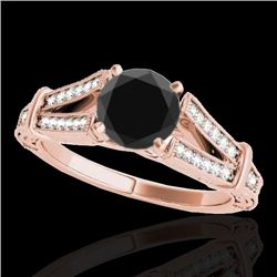 1.25 CTW Certified VS Black Diamond Solitaire Antique Ring 10K Rose Gold - REF-64M7F - 34661