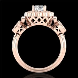 1.50 CTW VS/SI Diamond Solitaire Art Deco 3 Stone Ring 18K Rose Gold - REF-300V2Y - 37059
