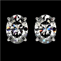 2.50 CTW Certified VS/SI Quality Oval Diamond Stud Earrings 10K White Gold - REF-840X2R - 33111