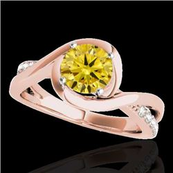 1.15 CTW Certified SI/I Fancy Intense Yellow Diamond Solitaire Ring 10K Rose Gold - REF-163X6R - 348