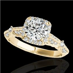 1.36 CTW H-SI/I Certified Diamond Solitaire Halo Ring 10K Yellow Gold - REF-218W2H - 33753