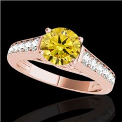 1.50 CTW Certified SI/I Fancy Intense Yellow Diamond Solitaire Ring 10K Rose Gold - REF-176A4V - 349