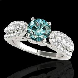 1.70 CTW SI Certified Fancy Blue Diamond Solitaire Ring 10K White Gold - REF-180R2K - 35264