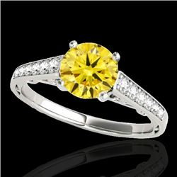 1.35 CTW Certified SI/I Fancy Intense Yellow Diamond Solitaire Ring 10K White Gold - REF-156V4Y - 34