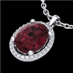 2.50 CTW Garnet & Micro Pave VS/SI Diamond Necklace Halo 18K White Gold - REF-44X9R - 21081