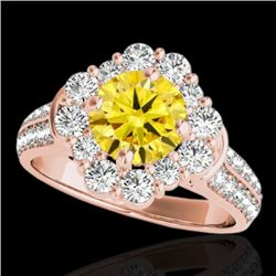 2.16 CTW Certified SI/I Fancy Intense Yellow Diamond Solitaire Halo Ring 10K Rose Gold - REF-221Y8X