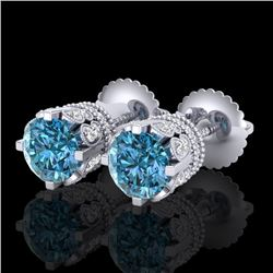 3 CTW Fancy Intense Blue Diamond Solitaire Art Deco Earrings 18K White Gold - REF-349R3K - 37362
