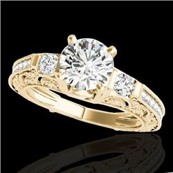 1.38 CTW H-SI/I Certified Diamond Solitaire Antique Ring 10K Yellow Gold - REF-174Y5X - 34641