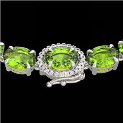 80 CTW Peridot & VS/SI Diamond Tennis Micro Pave Halo Necklace 14K White Gold - REF-317H3M - 23470