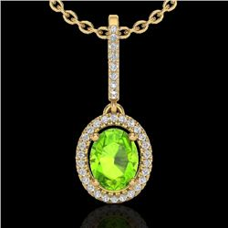 2 CTW Peridot & Micro Pave VS/SI Diamond Necklace Solitaire Halo 18K Yellow Gold - REF-61Y8X - 20666