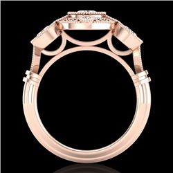 1.51 CTW VS/SI Diamond Solitaire Art Deco 3 Stone Ring 18K Rose Gold - REF-300A2V - 36987