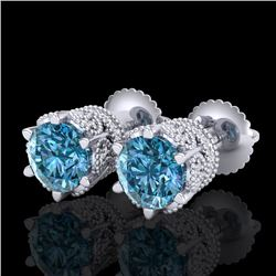 2.04 CTW Fancy Intense Blue Diamond Art Deco Stud Earrings 18K White Gold - REF-209N3A - 38097