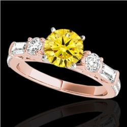 2 CTW Certified SI/I Fancy Intense Yellow Diamond Pave Solitaire Ring 10K Rose Gold - REF-221K8W - 3