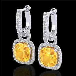 7 CTW Citrine & Micro Pave VS/SI Diamond Certified Earrings 18K White Gold - REF-100H7M - 22958