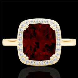3 CTW Garnet & Micro Pave VS/SI Diamond Certified Halo Ring 18K Yellow Gold - REF-48X5R - 22845
