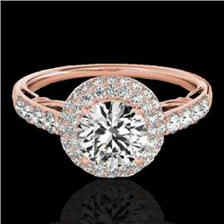 1.65 CTW H-SI/I Certified Diamond Solitaire Halo Ring 10K Rose Gold - REF-178M2F - 33698