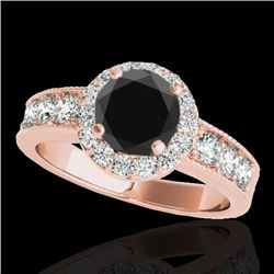 1.85 CTW Certified VS Black Diamond Solitaire Halo Ring 10K Rose Gold - REF-99A3V - 34535