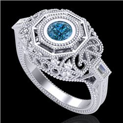 0.75 CTW Fancy Intense Blue Diamond Solitaire Art Deco Ring 18K White Gold - REF-172M7F - 37817