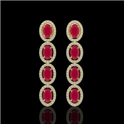 6.47 CTW Ruby & Diamond Earrings Yellow Gold 10K Yellow Gold - REF-114X2R - 40900
