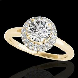 1.43 CTW H-SI/I Certified Diamond Solitaire Halo Ring 10K Yellow Gold - REF-169V3Y - 33663