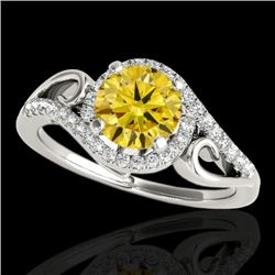1.25 CTW Certified SI Fancy Intense Diamond Solitaire Halo Ring 10K White Gold - REF-155V5Y - 34174