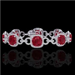 25 CTW Ruby & Micro VS/SI Diamond Certified Bracelet 14K White Gold - REF-457A3V - 23028