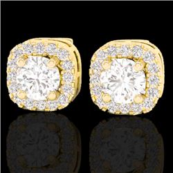 0.75 CTW Micro Pave VS/SI Diamond Earrings Designer Halo 18K Yellow Gold - REF-69R6K - 21175