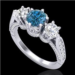 2.18 CTW Intense Blue Diamond Solitaire Art Deco 3 Stone Ring 18K White Gold - REF-254X5R - 38111