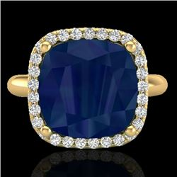 6 CTW Sapphire And Micro Pave Halo VS/SI Diamond Ring Solitaire 18K Yellow Gold - REF-77K3W - 23105
