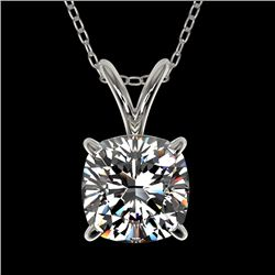 1 CTW Certified VS/SI Quality Cushion Cut Diamond Necklace 10K White Gold - REF-267A7V - 33198