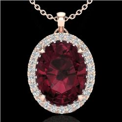 2.75 CTW Garnet & Micro VS/SI Diamond Halo Solitaire Necklace 14K Rose Gold - REF-38W5H - 20589