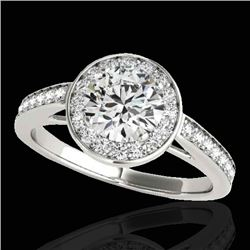 1.45 CTW H-SI/I Certified Diamond Solitaire Halo Ring 10K White Gold - REF-214N5A - 33796