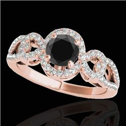1.38 CTW Certified VS Black Diamond Solitaire Halo Ring 10K Rose Gold - REF-70F2N - 33922