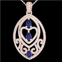 3.50 CTW Tanzanite & Micro VS/SI Diamond Certified Heart Necklace 18 14K Rose Gold - REF-218V2Y - 21