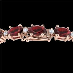 25.8 CTW Garnet & VS/SI Certified Diamond Eternity Bracelet 10K Rose Gold - REF-119A3V - 29453