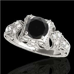 1.25 CTW Certified VS Black Diamond Solitaire Antique Ring 10K White Gold - REF-68F4N - 34669