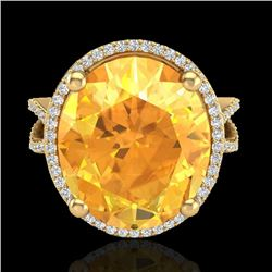 10 CTW Citrine & Micro Pave VS/SI Diamond Certified Halo Ring 18K Yellow Gold - REF-80M2F - 20959