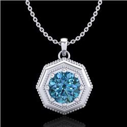 0.75 CTW Fancy Intense Blue Diamond Solitaire Art Deco Necklace 18K White Gold - REF-100F2N - 37943