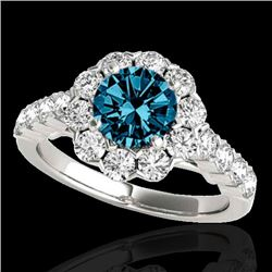 3 CTW SI Certified Fancy Blue Diamond Solitaire Halo Ring 10K White Gold - REF-296M9F - 33558