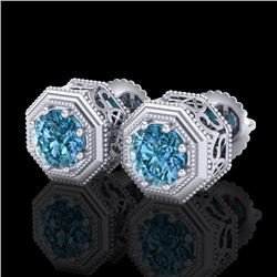1.07 CTW Fancy Intense Blue Diamond Art Deco Stud Earrings 18K White Gold - REF-118V2Y - 37936