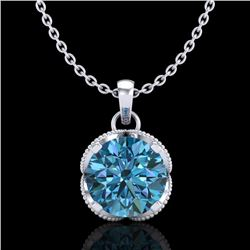 1.13 CTW Fancy Intense Blue Diamond Solitaire Art Deco Necklace 18K White Gold - REF-123F6N - 37425