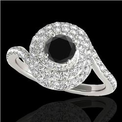 1.86 CTW Certified VS Black Diamond Solitaire Halo Ring 10K White Gold - REF-89M3F - 34507