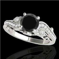 1.25 CTW Certified VS Black Diamond Solitaire Antique Ring 10K White Gold - REF-57R3K - 34795
