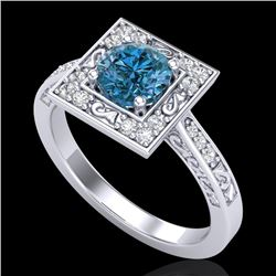 1.10 CTW Intense Blue Diamond Solitaire Engagement Art Deco Ring 18K White Gold - REF-140K9W - 38153