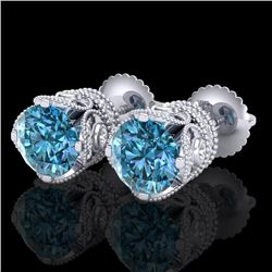 3 CTW Fancy Intense Blue Diamond Solitaire Art Deco Earrings 18K White Gold - REF-349Y3X - 37418