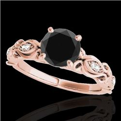 1.10 CTW Certified VS Black Diamond Solitaire Antique Ring 10K Rose Gold - REF-47N8A - 34634