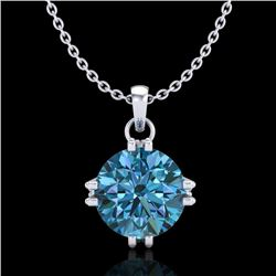 1 CTW Intense Blue Diamond Solitaire Art Deco Stud Necklace 18K White Gold - REF-167R3K - 37544