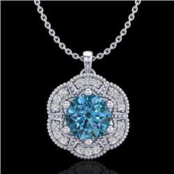 1.01 CTW Fancy Intense Blue Diamond Solitaire Art Deco Necklace 18K White Gold - REF-136X4R - 37971