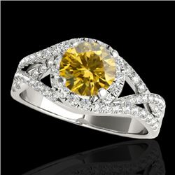 2 CTW Certified SI Fancy Intense Diamond Solitaire Halo Ring 10K White Gold - REF-318Y2X - 33845